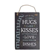 Hugs Kisses Love Dishes Slate Plaque